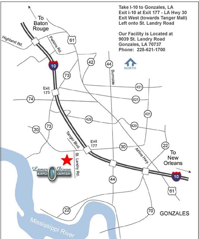 Lamar-Dixon Expo Center, 9039 St. Landry Rd., Gonzales, Louisiana, 70737, U.S.A.